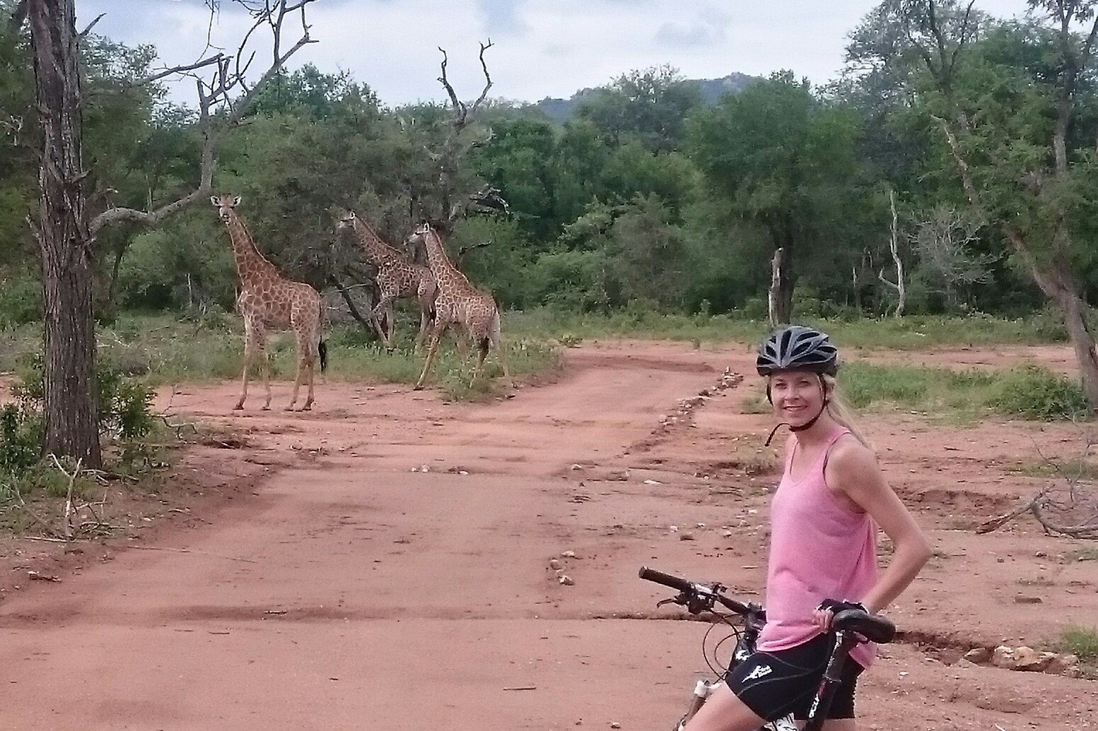 Safari Cycling with giraffes