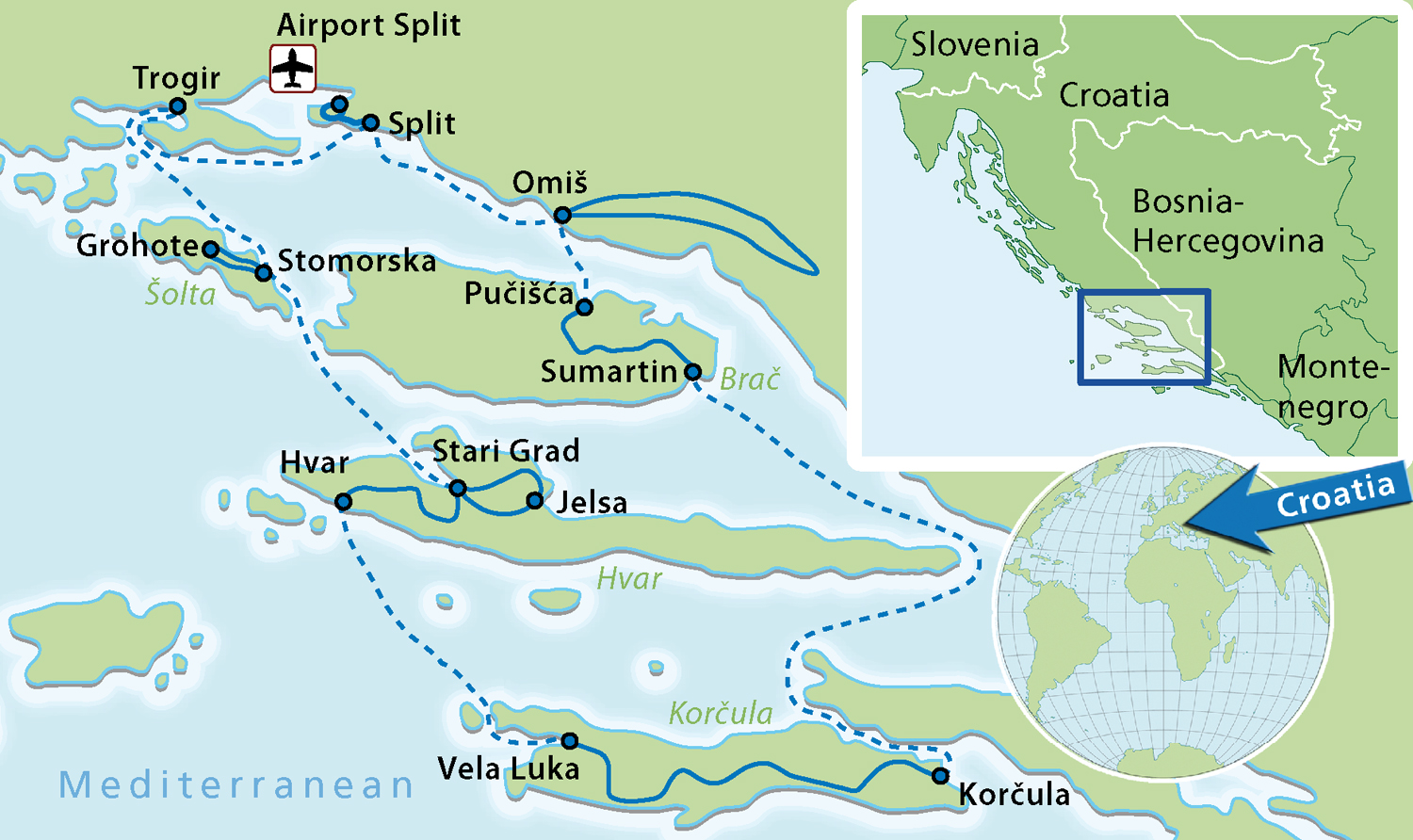 Southern Dalmatia Bike and Boat tour Map