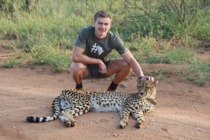 Walking with a cheetah
